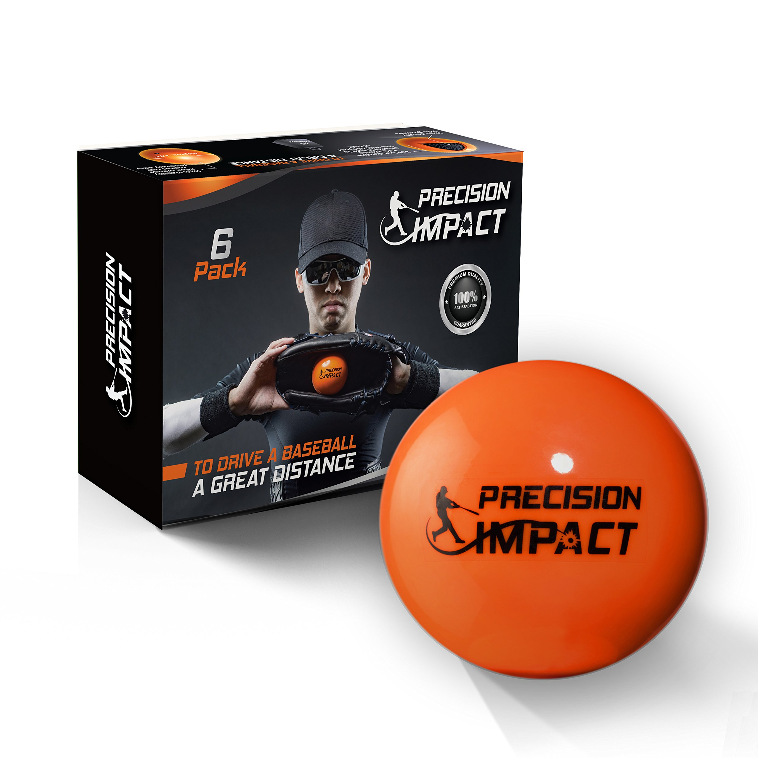 Precision Impact Baseball-Size Slugs: Heavy Weighted Practice Balls for Baseball; Hitting Training Aid (6-Pack)