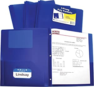 C-Line Two-Pocket Heavyweight Poly Portfolio with Prongs, For Letter Size Papers, Includes Business Card Slot, 1 Case of 25 Portfolios, Blue (33965-25)