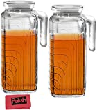 Paksh Novelty Glass Pitcher with Lid and Spout Bundled with Cloth, 41-Ounce (Set of 2) - White