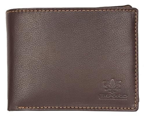 Cartera de cuero marrón Emporio Luigi Benetton: Amazon.es: Zapatos y complementos