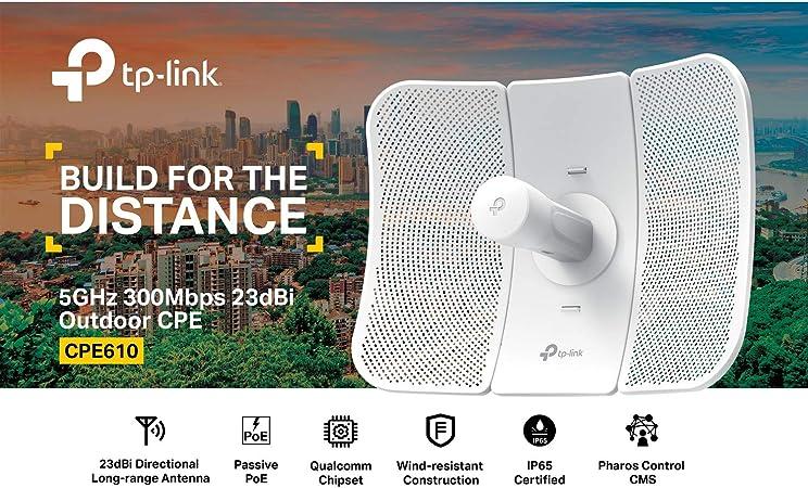 TP-Link CPE610 Outdoor CPE 5GHz 300Mbps Antena Directiva de Alta Ganancia 23dBi 2×2 MIMO