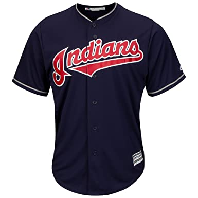brand new e7307 5d93f Majestic Cleveland Indians Cool Base MLB Jersey Alternate Navy