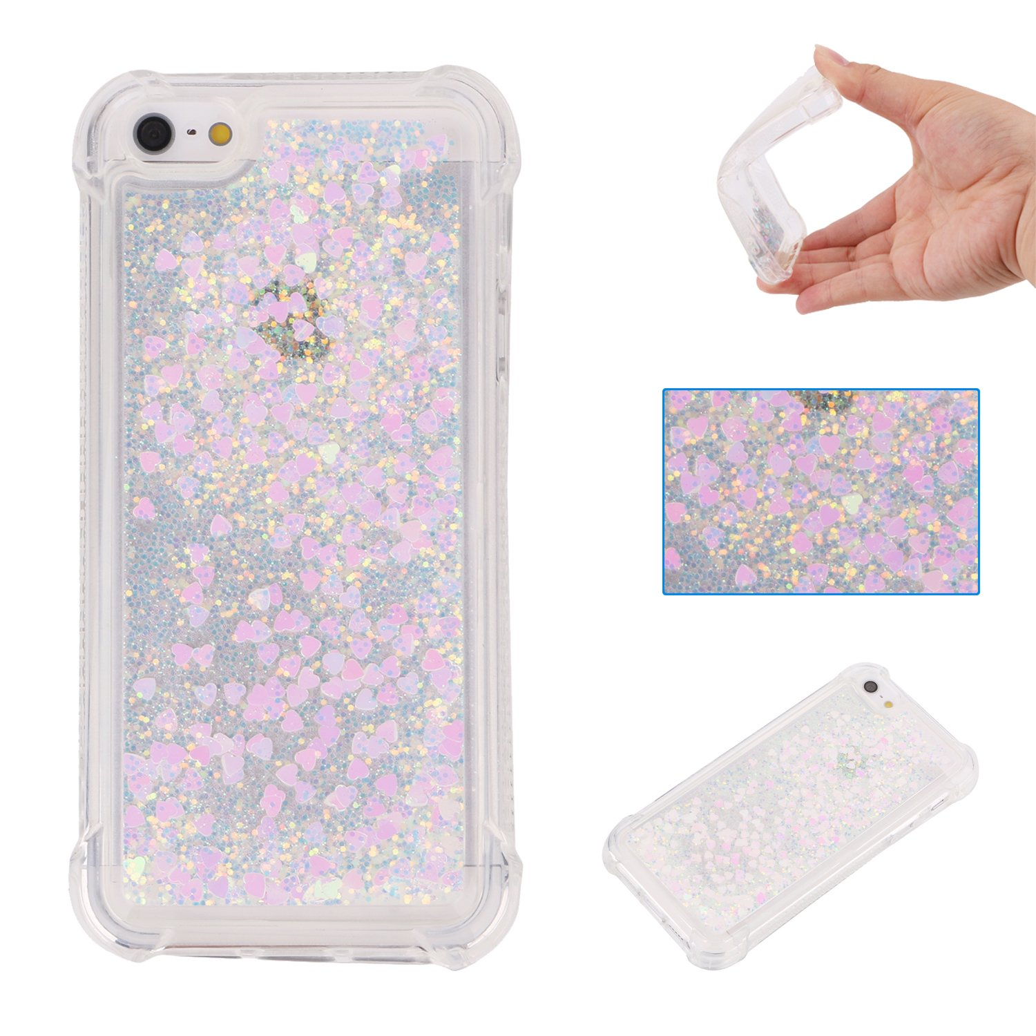 Liquid Case for iPhone 5C, Floating Case for iPhone 5C, Leeook Luxury Beauty Bling Shiny Sparkle Glitter Cover Rose Gold Love Heart Quicksand Flowing Creative Design Crystal Transparent Clear Plastic Soft TPU Protective Shock Proof Shell Case Cover Bumper