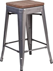 """Flash Furniture 24"""" High Backless Clear Coated Metal Counter Height Stool with Square Wood Seat"""