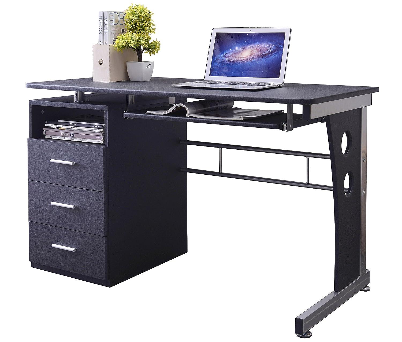 SixBros Mesa de ordenador NegroGris plateado S3522072 MDF