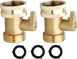 Heavy Duty Brass Garden Hose Shut Off Valve [2 Pack] | Garden Hose Connector | Garden Hose Valve | Water Hose Shutoff Valve Hose On/Off Valve Garden Hose Connector | Extra Pressure Washers
