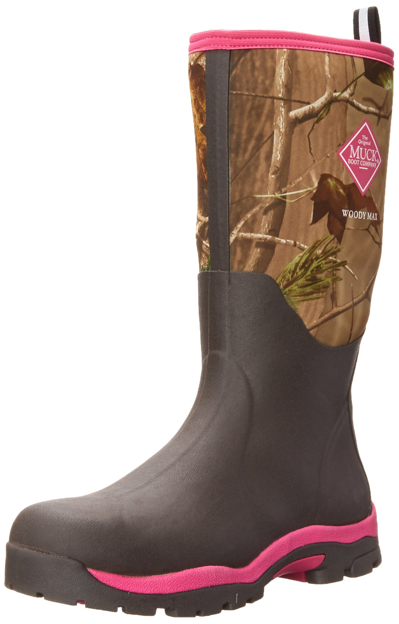 Muck Boot Womens Woody Pk Hunting Shoes, Bark/Realtree/Hot Pink, 7 US/7-7.5 M US