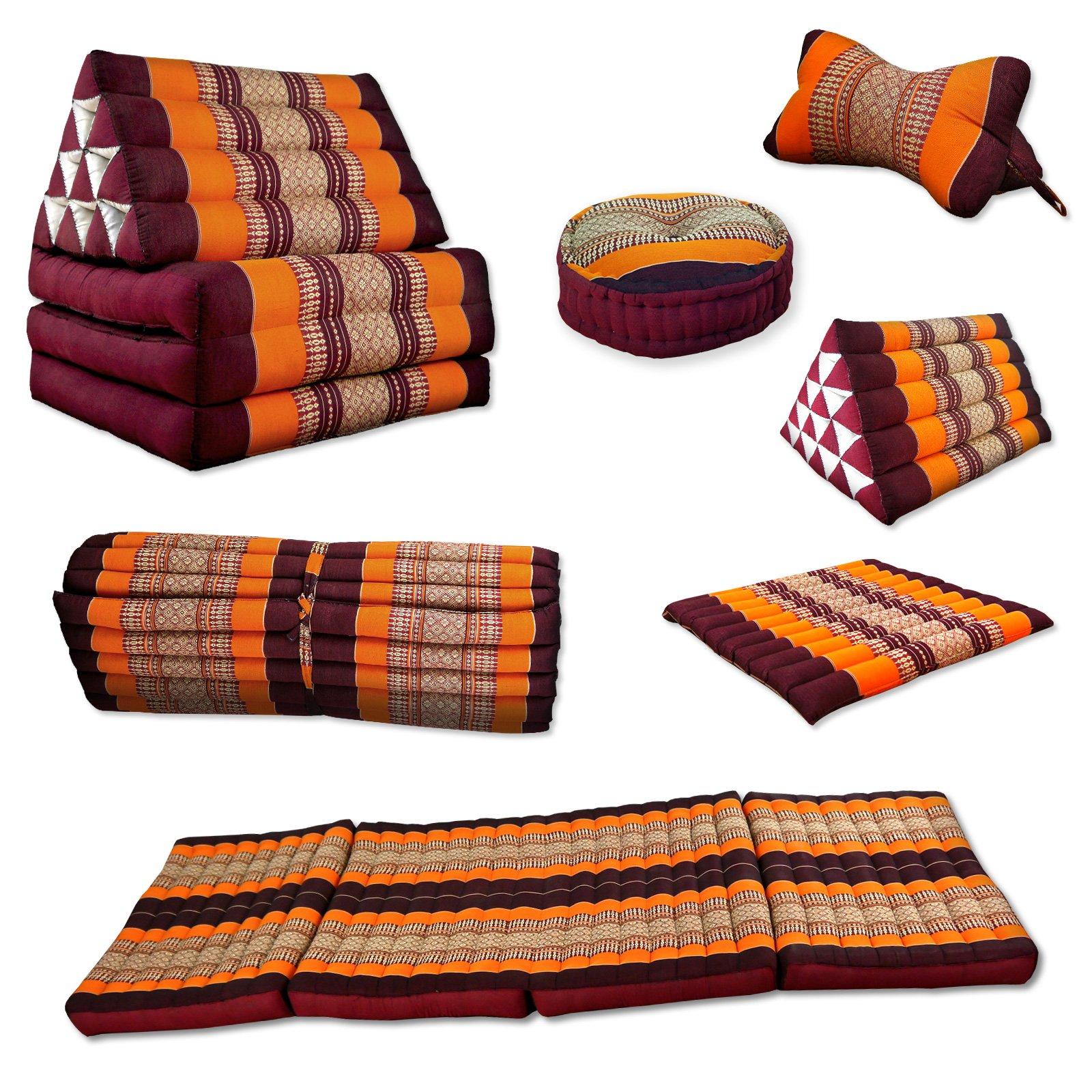 Asia Wohnstudio 2 Fold With Extra Large Triangle Cushion, 100% Natural Kapok Filling,Thai Xxl Jumbo Thai Pillow, Headrest (Thai Cushion Seat Folds) Folds