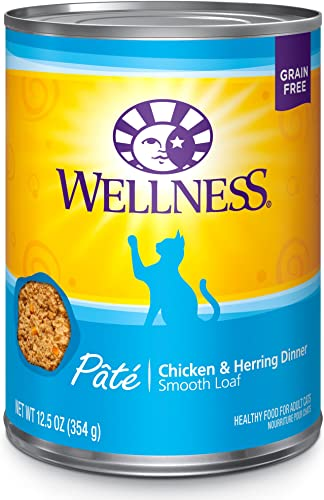 Wellness Complete Health Natural Grain Free Wet Canned Cat Food Pate Recipe Chicken Herring Pate