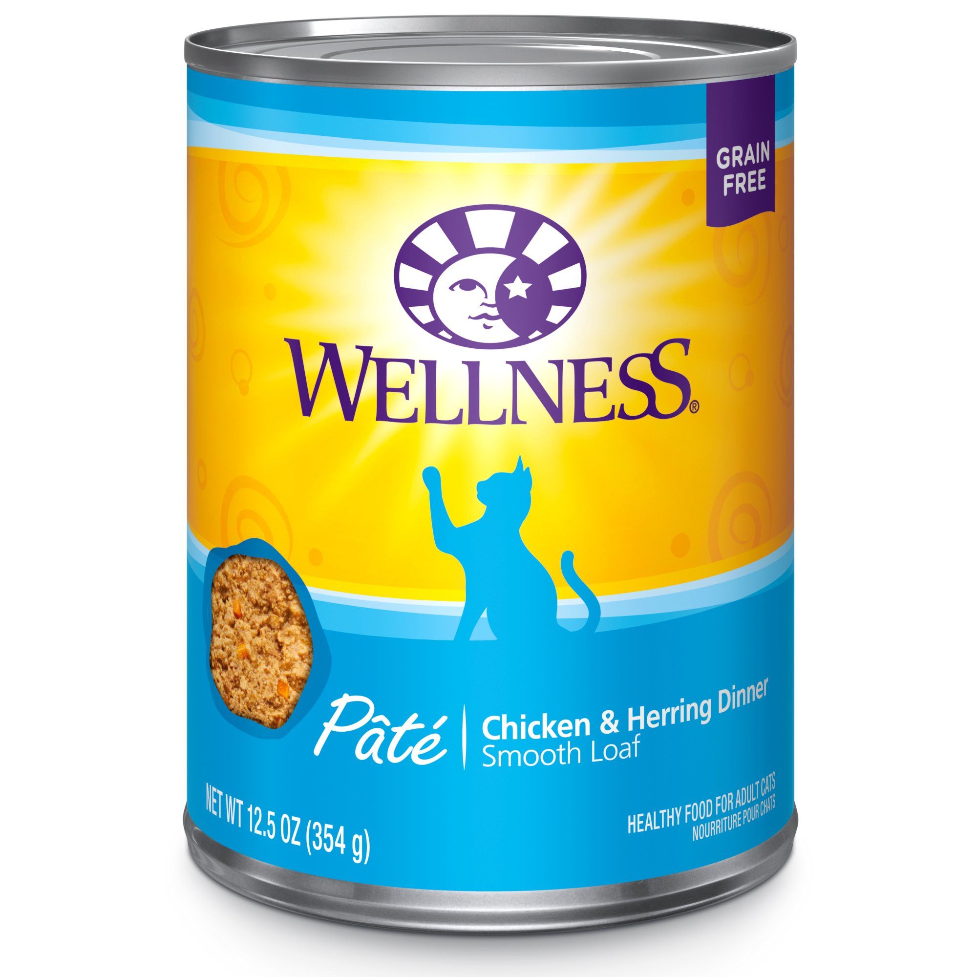 Wellness Natural Grain Free Wet Canned Cat Food, Chicken & Herring Pate, 12.5-Ounce Can - Pack Of 12 by Wellness Natural Pet Food
