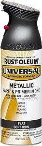 Rust-Oleum, Flat Metallic Soft Iron 271473 Universal All Surface Spray Paint, 11 oz, 11-Ounce