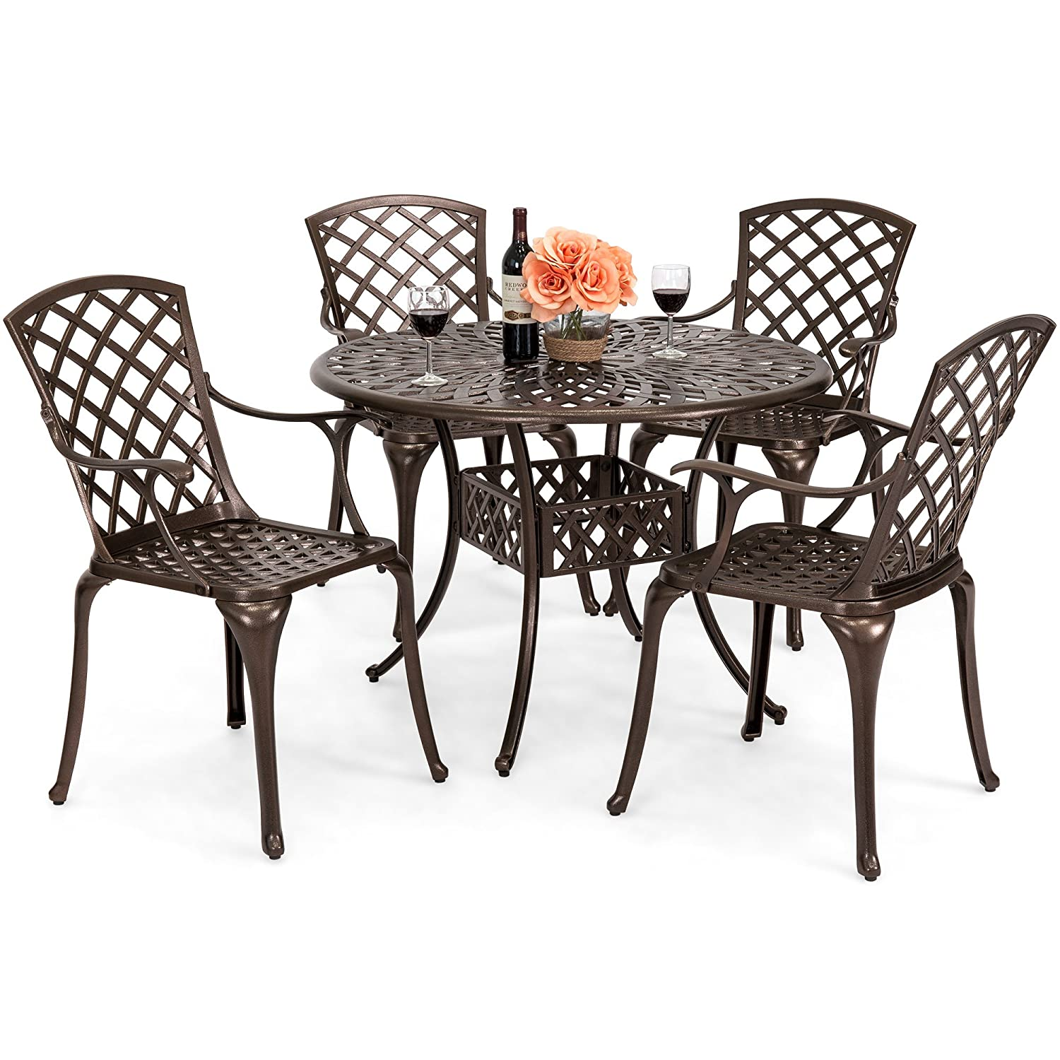 Best Choice Products 5-Piece All-Weather Cast Aluminum Patio Dining Set w 4 Chairs, Umbrella Hole, Lattice Weave Design