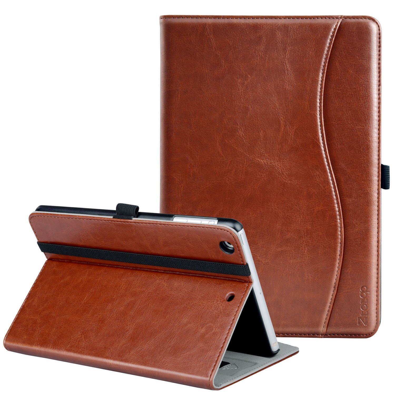 Ztotop iPad Mini 1/2/3 Case, Premium Leather Folio Stand Protective Case Smart Cover with Multi-Angle Viewing, Pocket, Functional Elastic Strap for iPad Mini 3/ Mini 2/ Mini 1 - Brown