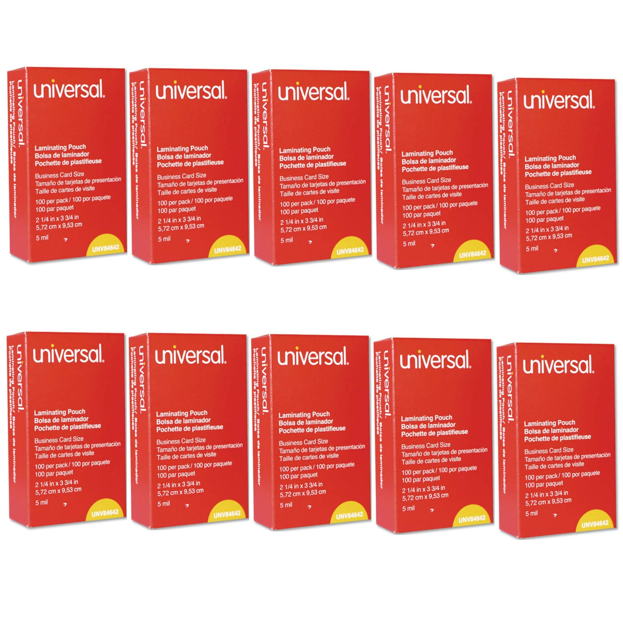 Universal UNV84642 100 per Box Clear Laminating Pouches, 2 1/4-Inch x 3 3/4-Inch - 10 Pack