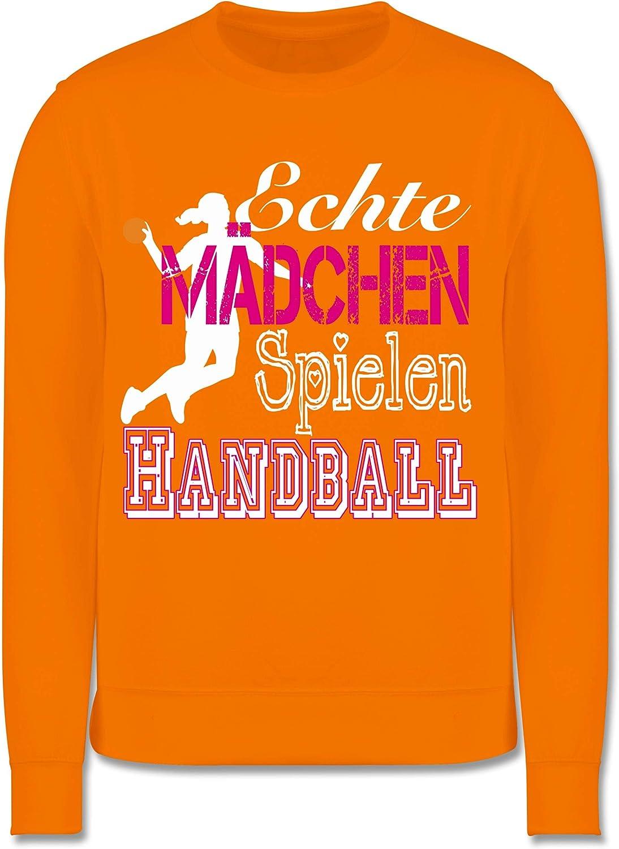 Kinder Pullover Sport Kind Echte M/ädchen Spielen Handball wei/ß