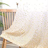Hiasan Polka Dots Foil Printed Sheer Curtains for Living Room - Faux Linen Grommet Voile Confetti Window Curtains for Bedroom