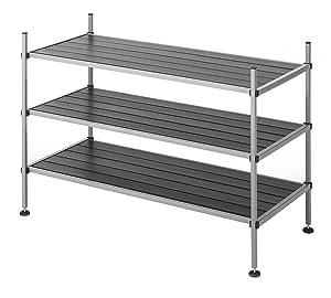 Whitmor 3 Tier Closet Storage Shelves -Shoe Rack and Home Organizer