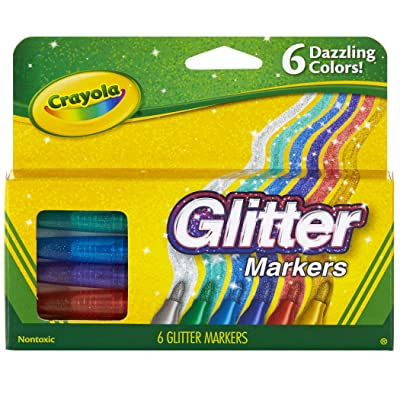 Crayola Glitter Markers, Assorted Colors, Gift, 6 Count: Toys & Games