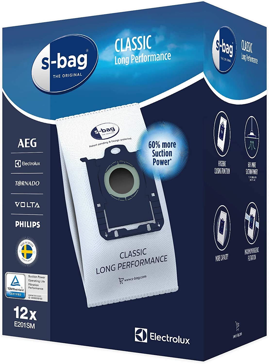 Electrolux E201SM Mega Pack de 12 Bolsas S-Bag Classic Long Performance, Blanco