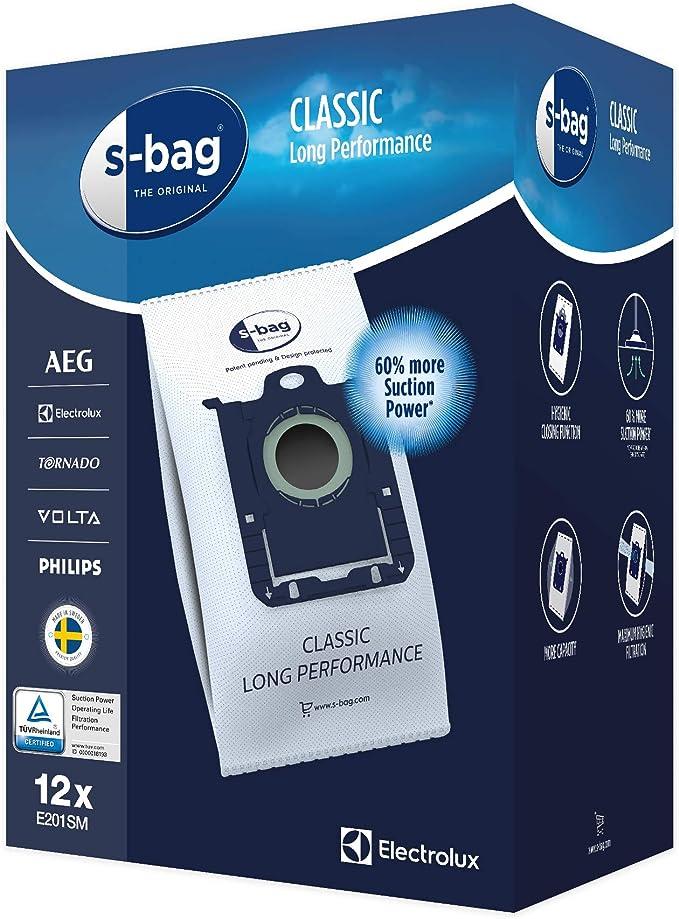 un pacco con 4 pezzi Electrolux 900256059//8 Sacchetto S Bag Long Performance per aspirapolvere