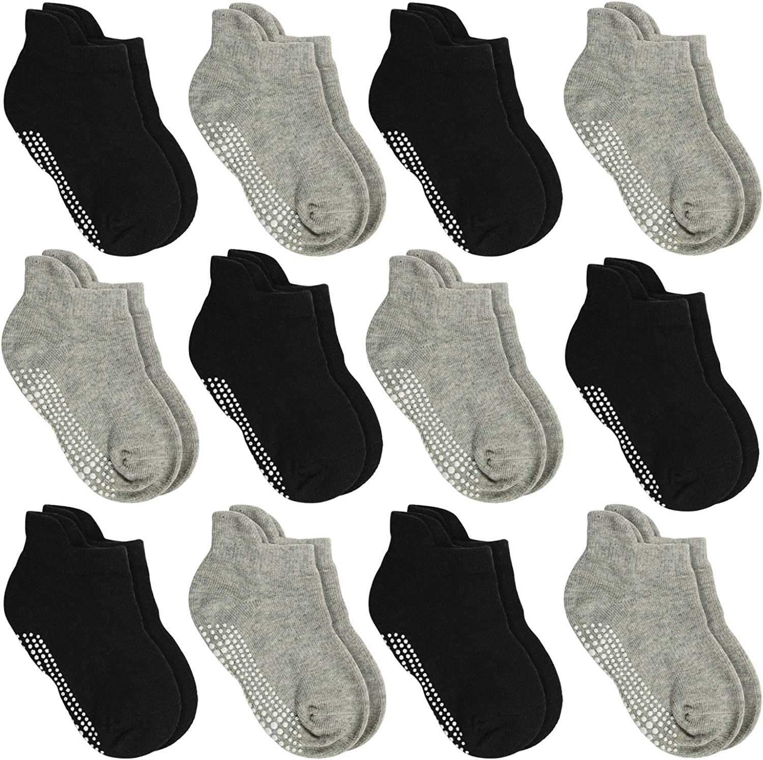 Aminson Anti Slip Non Skid Ankle Socks With Grips for Baby Toddler Kids Boys Girls (12 Pairs-Black/Grey, 3-5 Years)