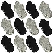 Aminson Anti Slip Non SkidAnkle Socks With Grips for Baby Toddler Kids Boys Girls (12 Pairs-Black/Grey, 0-6 Months)