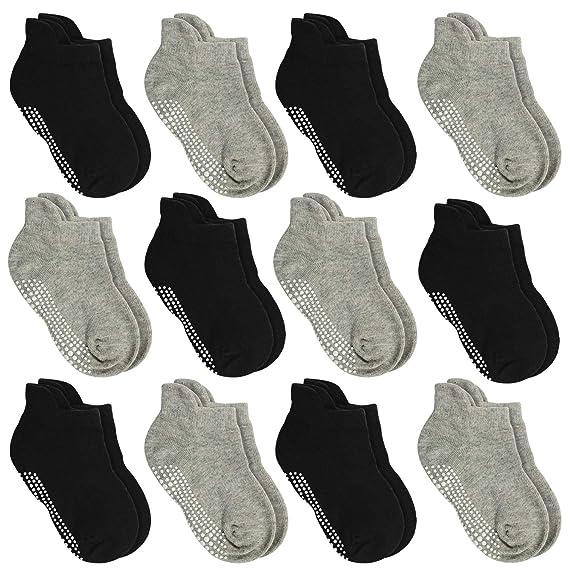 Aminson Anti Slip Non SkidAnkle Socks With Grips for Baby Toddler Kids