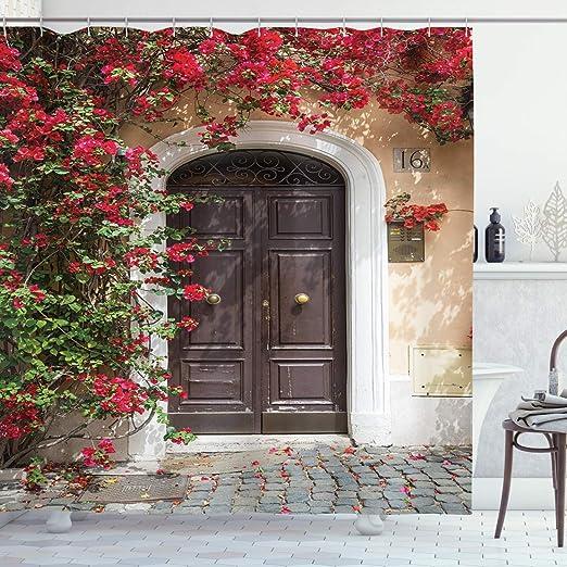 ABAKUHAUS Marroquí Cortina de Baño, Vieja Puerta de Madera Rodeada ...