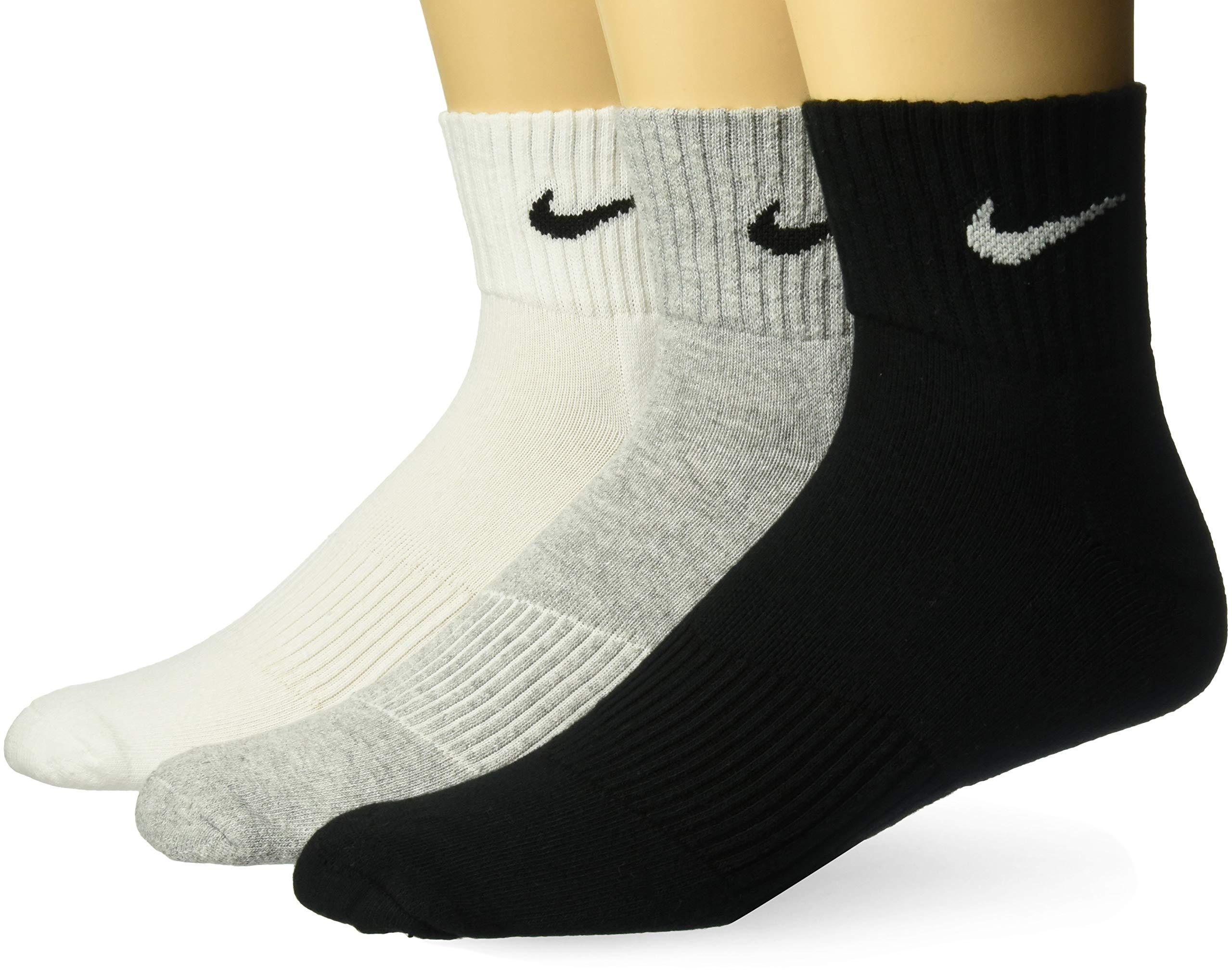 Nike 3PPK Cushion Quarter, Calcetines unisex, paquete de 3 unidades, Gris / Negro