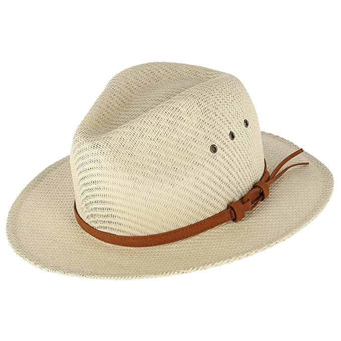 d58b41a148 Epoch Hats Company Men's Straw Panama Hat with Leather Band, Beige ...