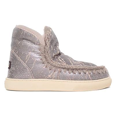 311f9741208 Amazon.com | Mou Women's Mini Eskimo Fashion Sneaker Boots, Silver ...