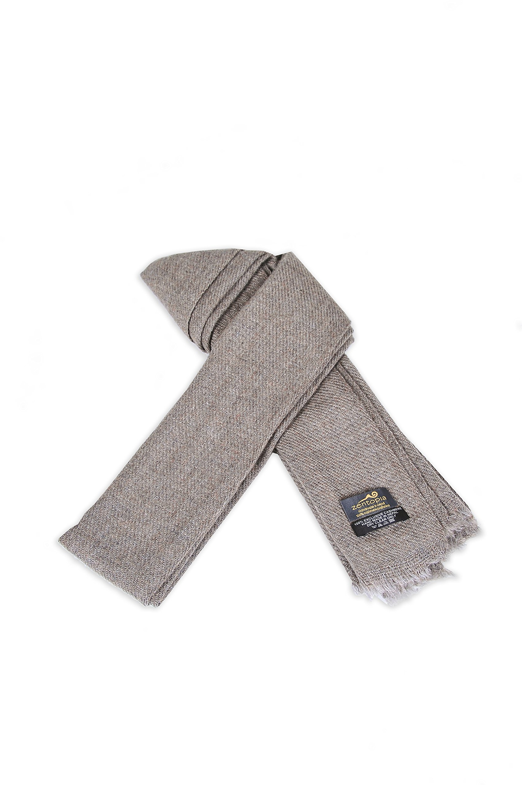 Zentopia classic 100% Grade A cashmere handmade scarf narrow cut light weight (Brown)