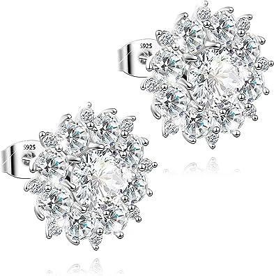 Women Round Cubic Zirconia Ear Stud Pierced Earrings Fashion Jewelry for Women Girls