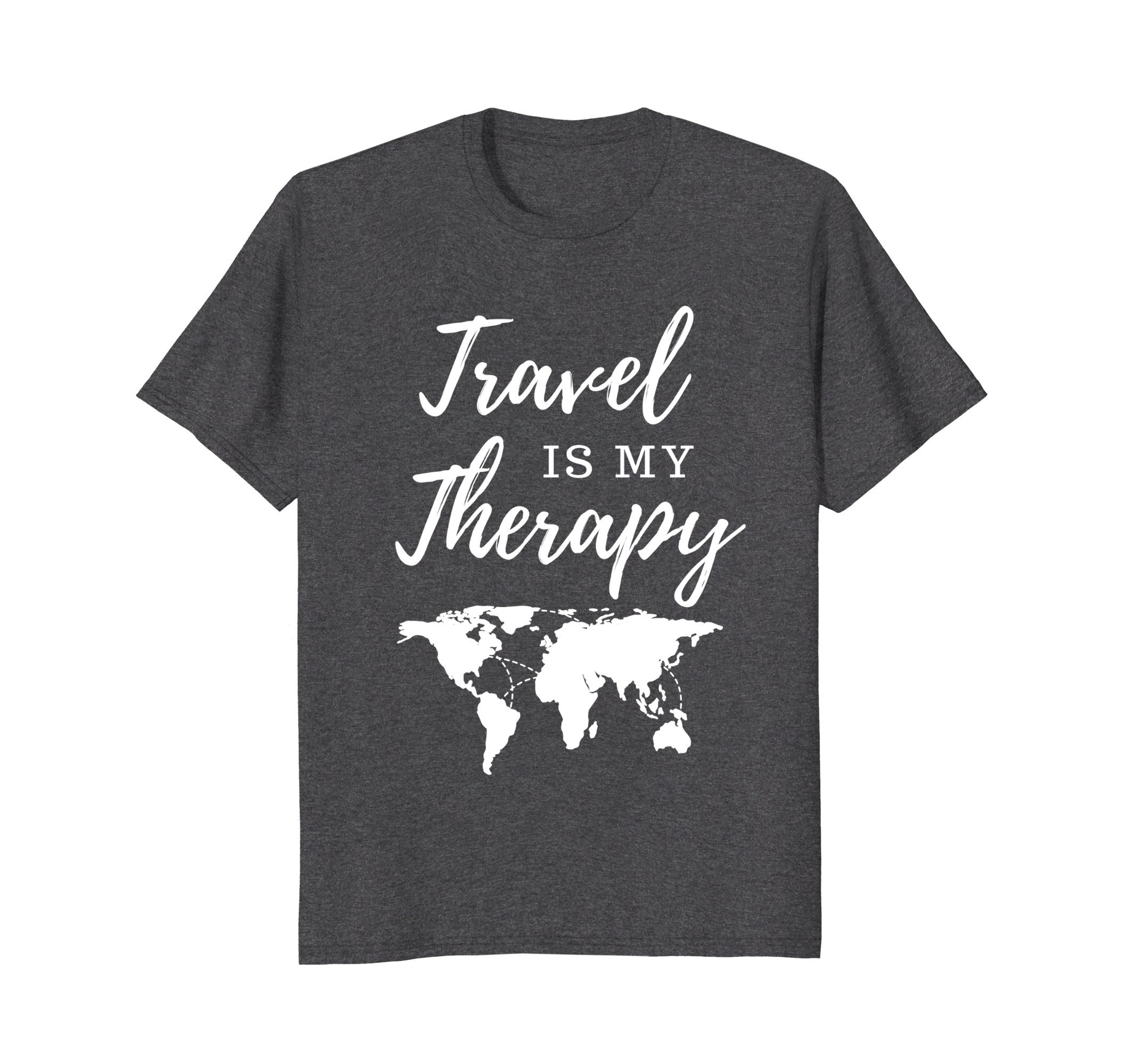 Mens Travel Is My Therapy T-Shirt Large Dark Heather