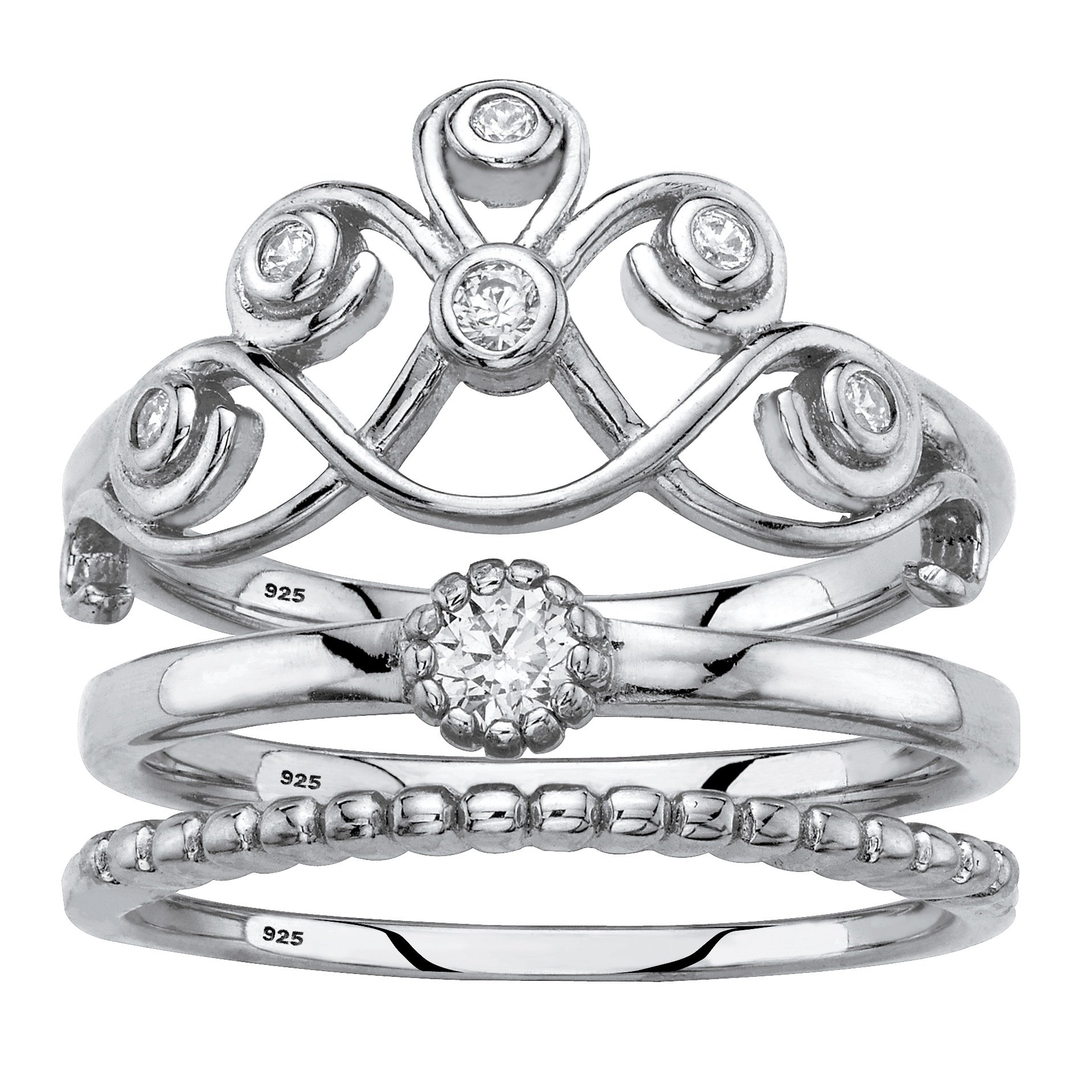 .925 Sterling Silver 3-Piece Stackable Crown Ring Set Round White Cubic Zirconia Size 6