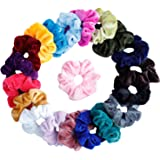 Mandydov 20 Pcs Hair Scrunchies Velvet Elastic Hair Bands Scrunchy Hair Ties Ropes Scrunchie for Women or Girls Hair Accessories - 20 Assorted Colours Scrunchies.