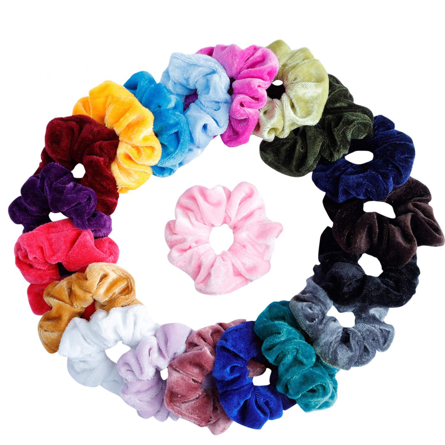 Choice of Colours Set of 19 Coloured Assorted Hair Elastics Bobbles Hair Bands