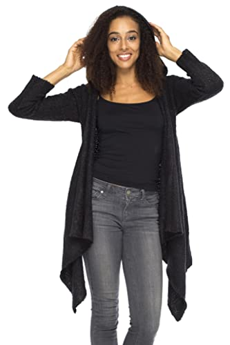 Back From Bali Womens Long Fall Cardigan Hooded Sweater Asymmetrical Open  Drape: Amazon.co.uk: Clothing