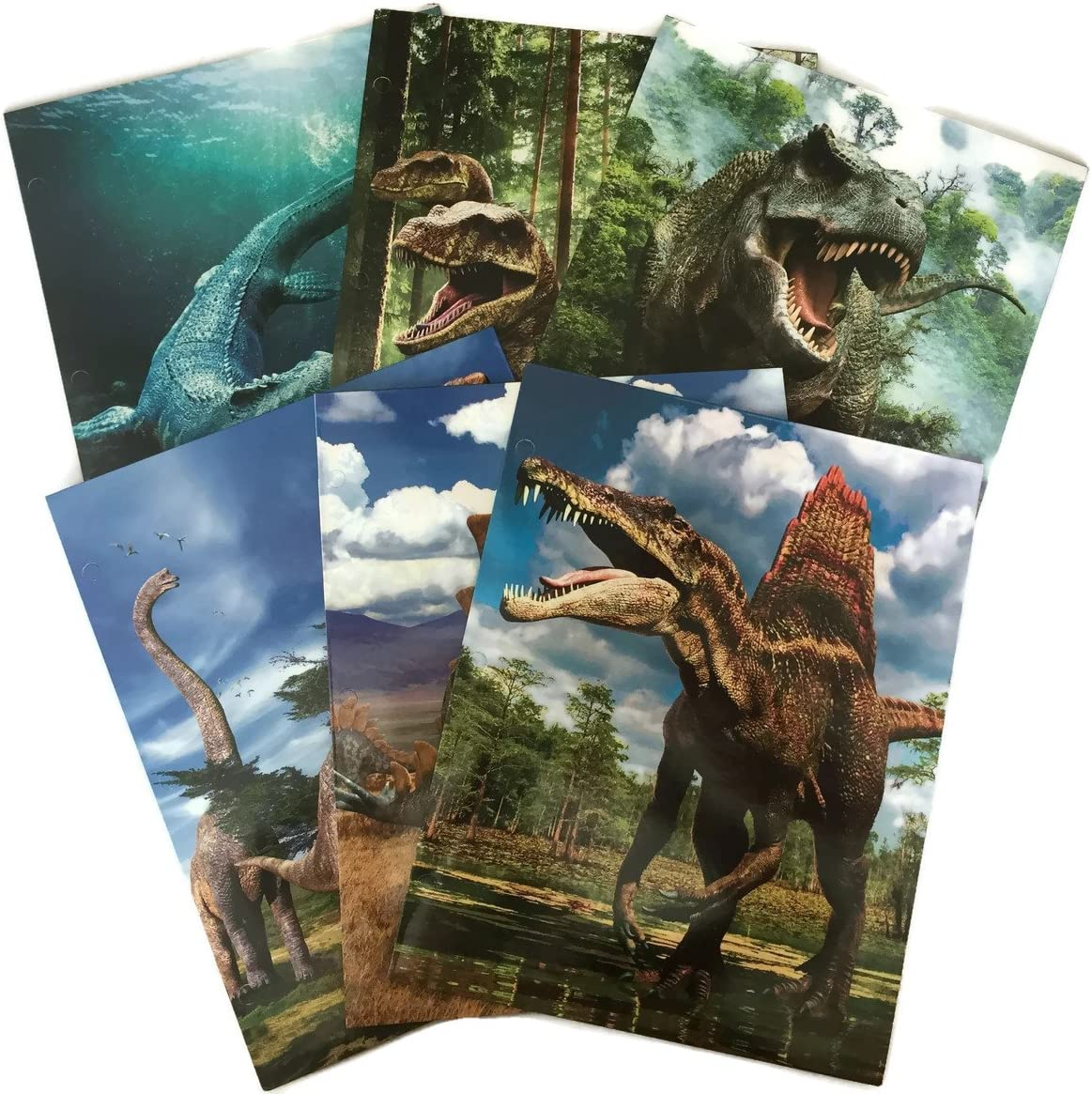 Cool Dinosaur School Supply Bundle: 6 Items: Six Assorted Kittrich Dinosaur Subject Folders