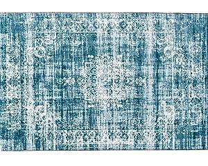 LIFA LIVING Tapis Vintage | Tapis de Salon et de Chambre à Coucher | Disponible en différentes Couleurs et Tailles (Bleu Clair, 80 x 150)