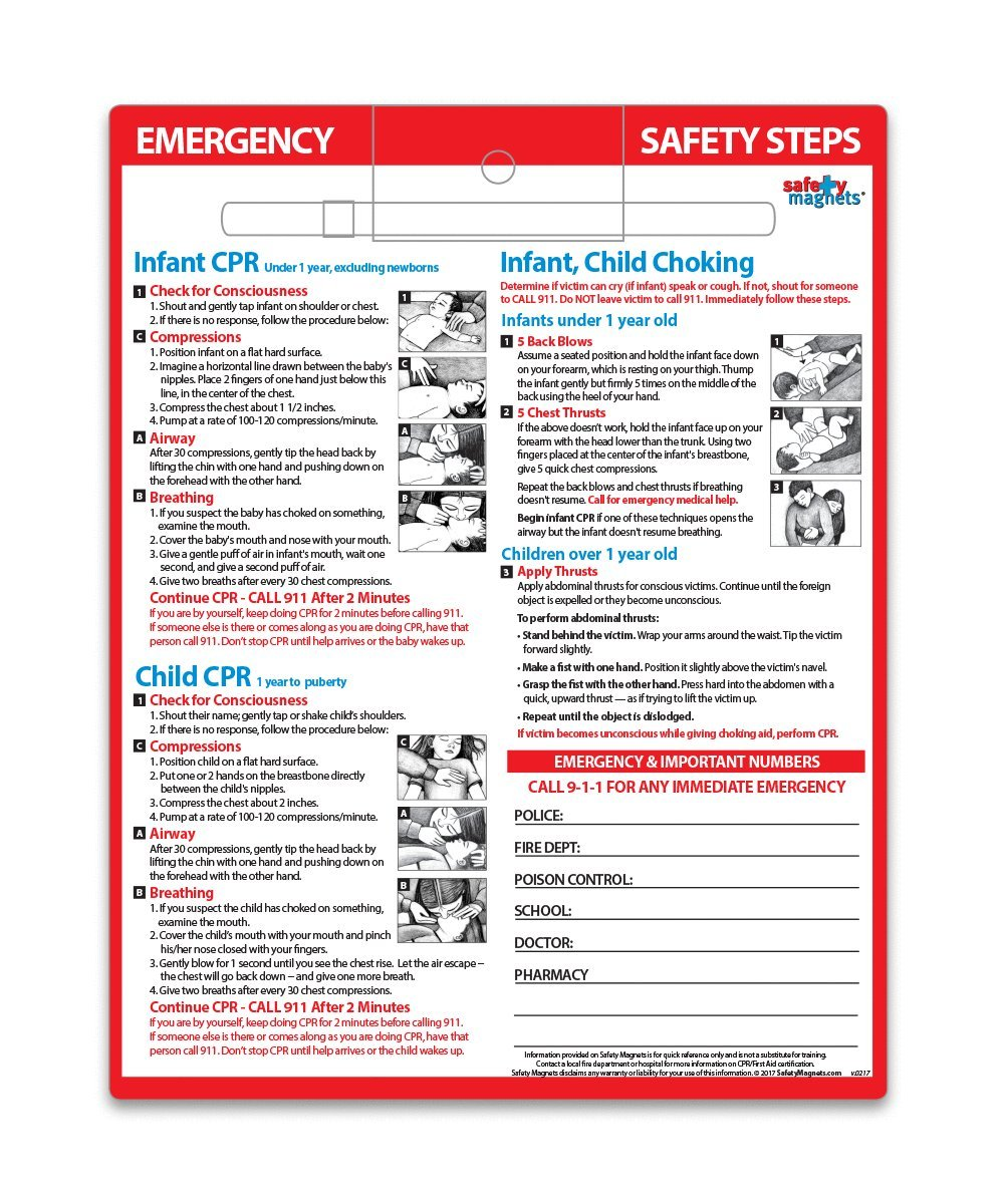 Amazon smart solutions toolkit for baby safety baby health infant child cpr choking first aid safety magnet 85x11 laminated card xflitez Image collections