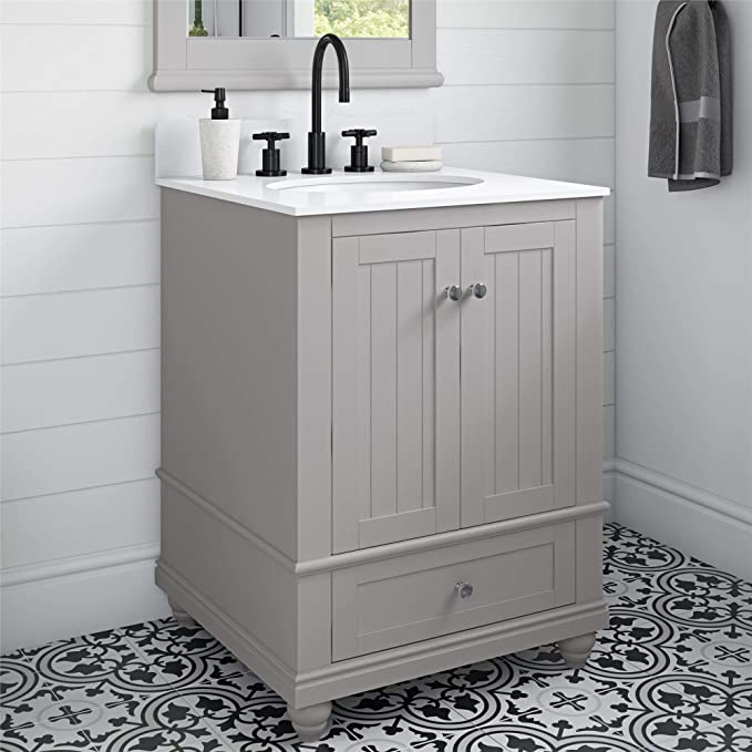 Amazon Com Dorel Living Monteray Beach 24 Inch Gray Bathroom Vanity 24 Furniture Decor