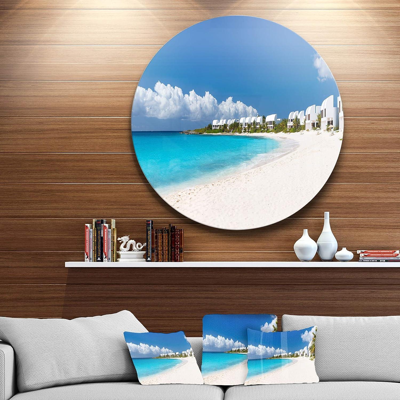 Disc of 23 inch 23 H x 23 W x 1 D 1P Blue//Beige Designart MT6430-C23 Wall Art
