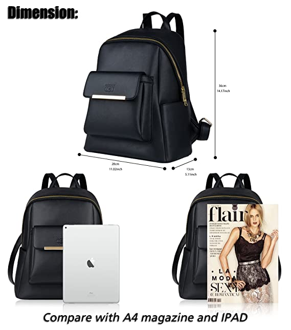Amazon.com: Ladies Backpack Luxury Leather Daypack School Backpack Travel Rucksack with Adjustable Straps COOFIT Black Leather Backpack for Women Backpack ...