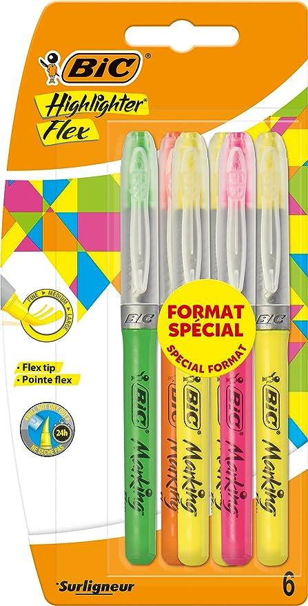 BIC Highlighter Flex Marcadores Punta Flexible – colores Surtidos ...