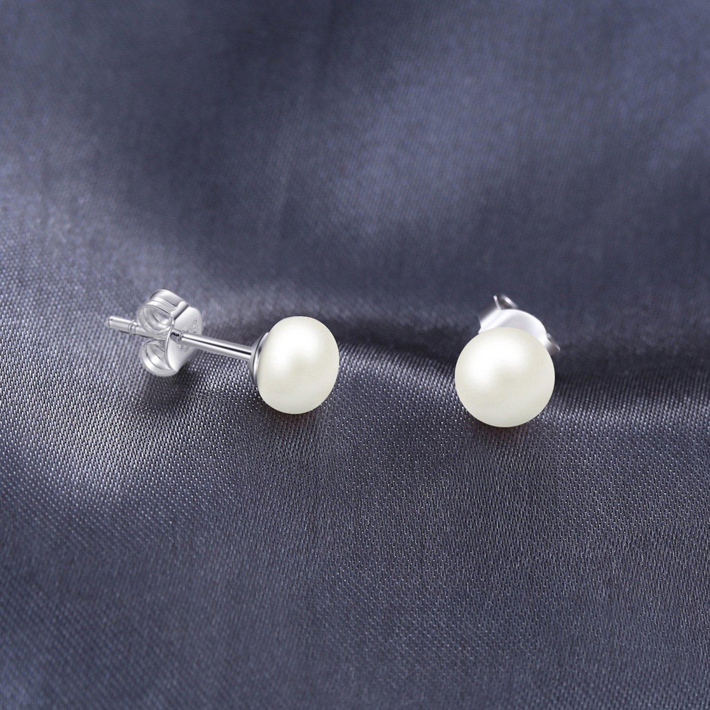 Boucles d/'Oreilles Nacre Perle Culture Rond Violet Argent Massif 925 10mm-11mm C
