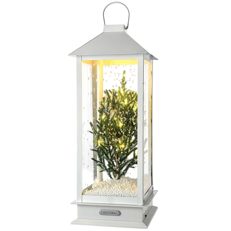 WeRChristmas LED Schneiender Weihnachtsbaum Laterne Weihnachten Dekoration, mehrfarbig, 38 cm