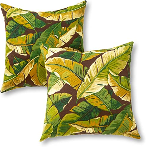 Greendale Home Fashions Set of 2 Outdoor 17-inch Square Throw Pillows