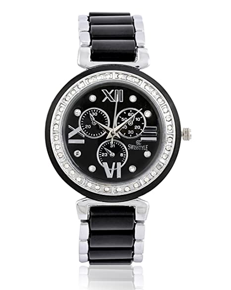 687342cab5f Buy Swisstyle Analogue Black Dial Women s Watch - SS-LR703-BLK-BCH Online  at Low Prices in India - Amazon.in