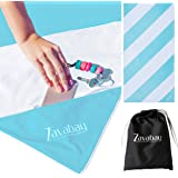 Zavabay Microfiber Beach Towel with Zipper Pocket – Quick Dry, Sand Free Towel for Travel & Pool with Carry Bag – Large…